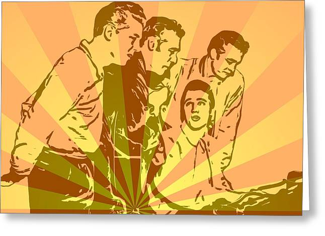 Million Dollar Quartet Pop Art Greeting Card