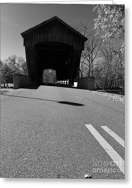 Millrace Park Covered Bridge - Columbus Indiana - Bw Greeting Card