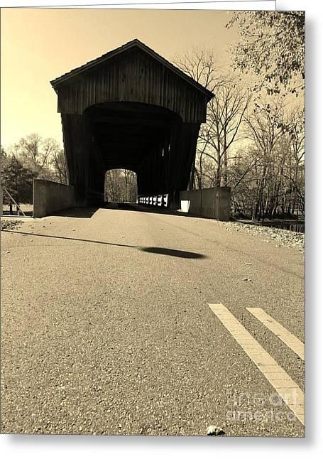 Millrace Park Covered Bridge - Columbus Indiana - Sepia Greeting Card