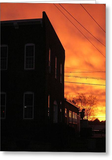 Millyard Sunset Greeting Card by Nancy Ferrier