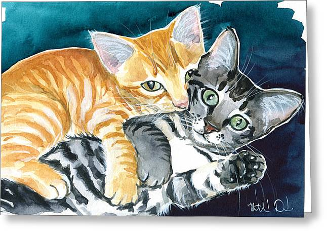 Milo And Tigger - Cute Kitty Painting Greeting Card