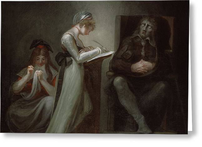 Milton Dictating To His Daughter Greeting Card by Henry Fuseli