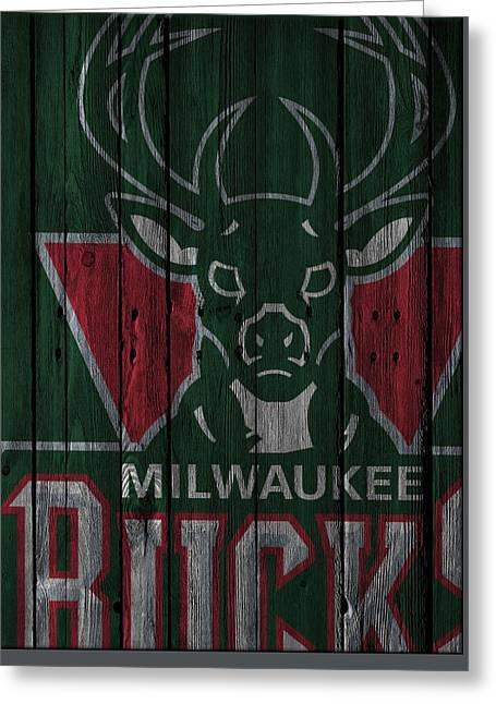 Milwaukee Bucks Wood Fence Greeting Card by Joe Hamilton