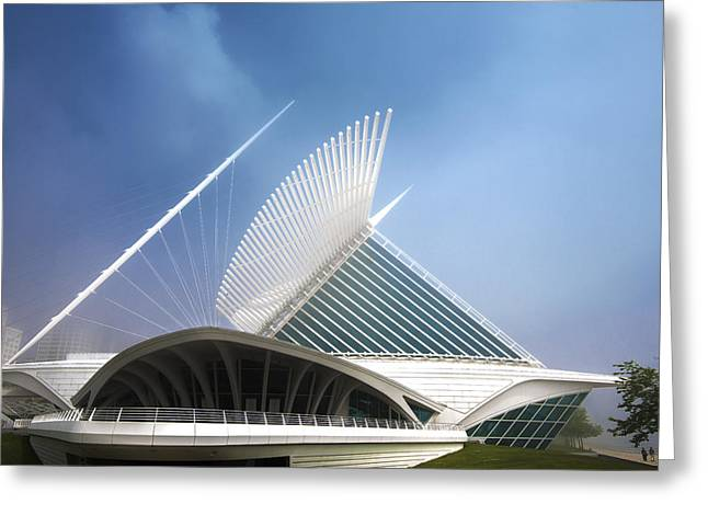 Milwaukee Museum Of Art Milwaukee Wisconsin Blue 2 Greeting Card by David Haskett