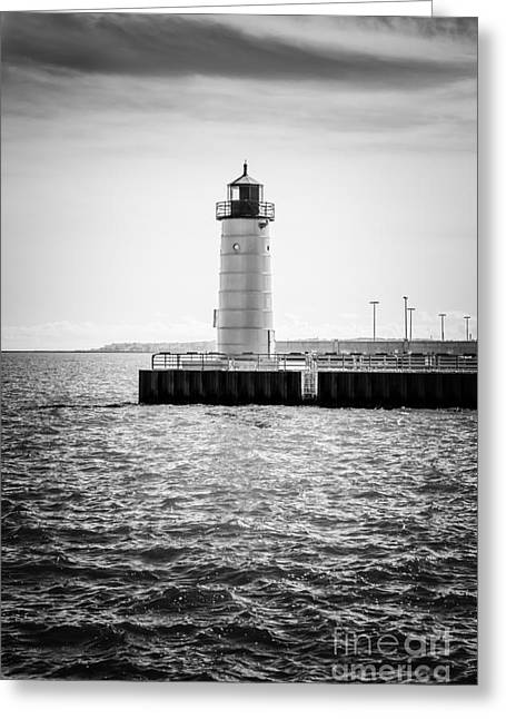 Milwaukee Pierhead Lighthouse Photo In Black And White Greeting Card