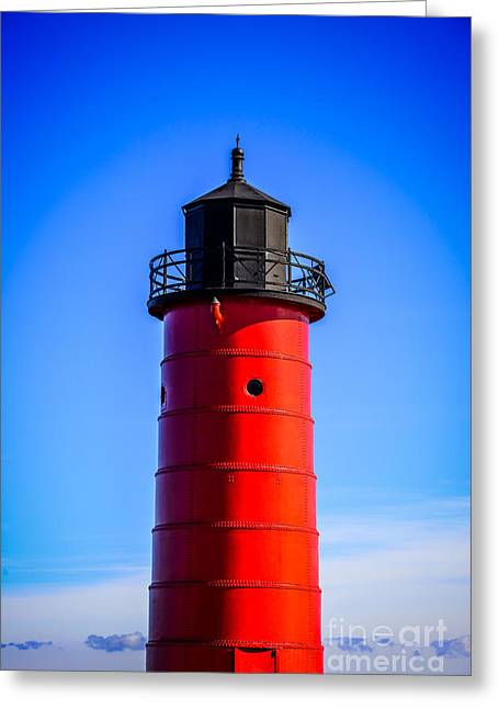 Milwaukee Pierhead Lighthouse Photo In Wisconsin Greeting Card by Paul Velgos