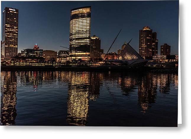 Milwaukee Reflections Greeting Card by Randy Scherkenbach