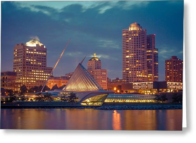 Milwaukee Skyline At Dark Greeting Card