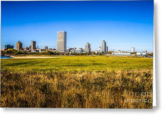 Milwaukee Skyline Photo With Lakeshore State Park Greeting Card
