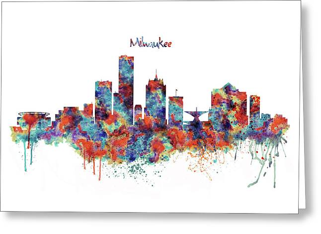 Greeting Card featuring the mixed media Milwaukee Watercolor Skyline by Marian Voicu