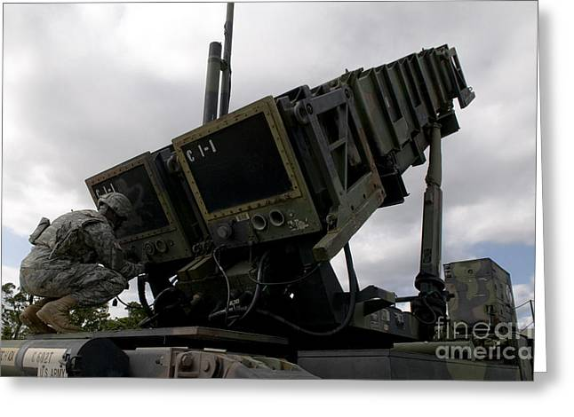 Mim-104 Patriot Missile Launcher Greeting Card by Stocktrek Images