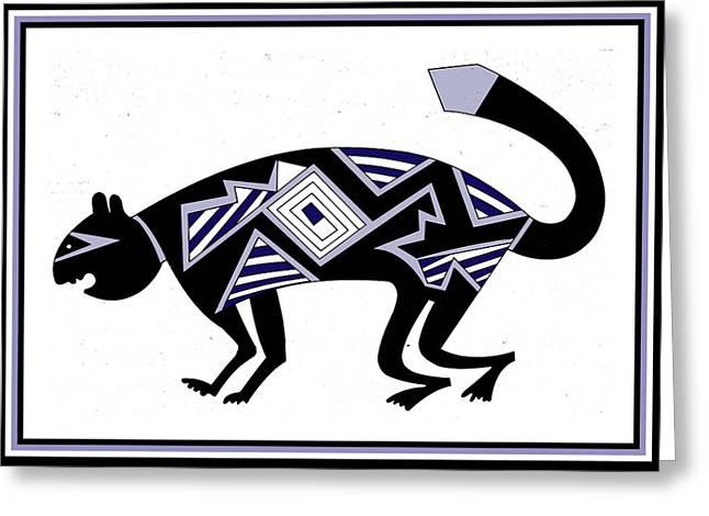 Greeting Card featuring the digital art Mimbres Mountain Lion by Vagabond Folk Art - Virginia Vivier