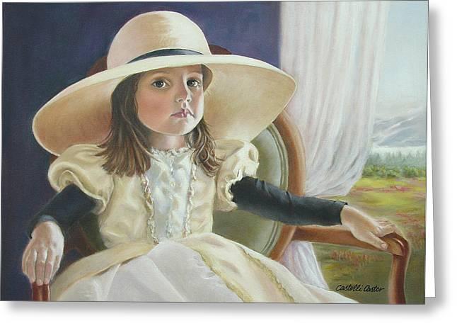 Mimi's Hat Greeting Card by JoAnne Castelli-Castor