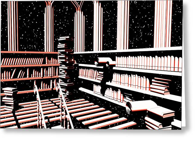 Greeting Card featuring the digital art Mind Library Glowing by Russell Kightley