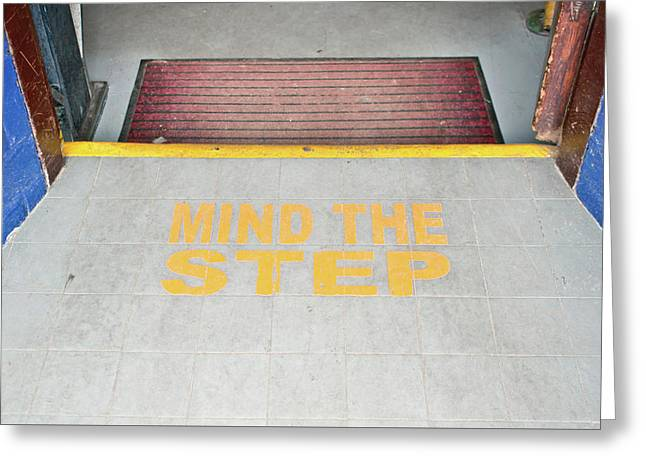 Mind The Step Notice Greeting Card