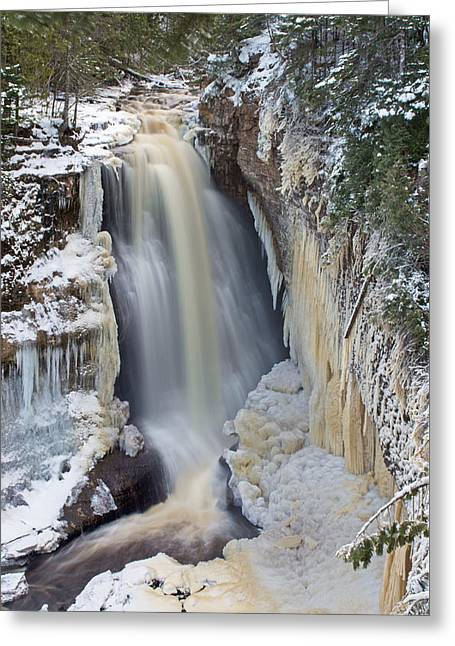 Miners Falls In The Snow Greeting Card by Gary McCormick