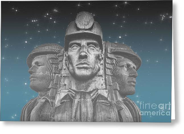 Miners In The Mist Greeting Card by Steve Purnell