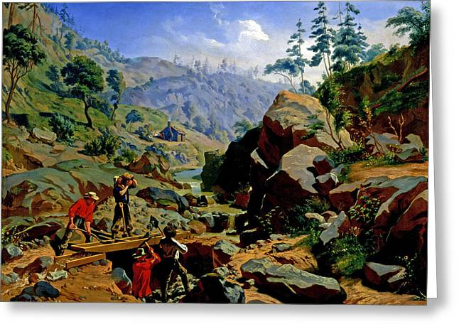 Miners In The Sierras Greeting Card