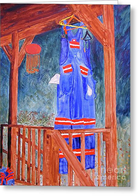 Greeting Card featuring the painting Miner's Overalls by Sandy McIntire