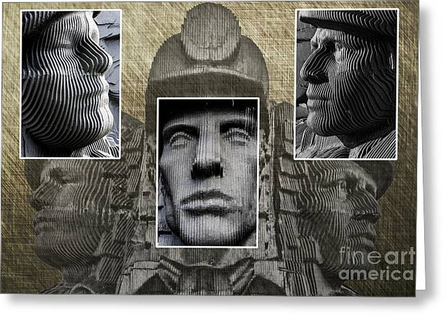 Miners Triptych Greeting Card by Steve Purnell