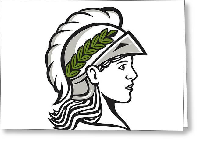 Minerva Head Side Profile Retro Greeting Card