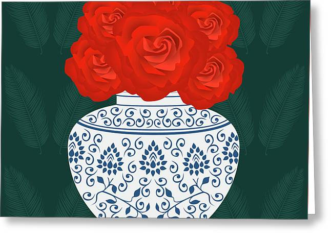 Ming Vase With Roses Greeting Card