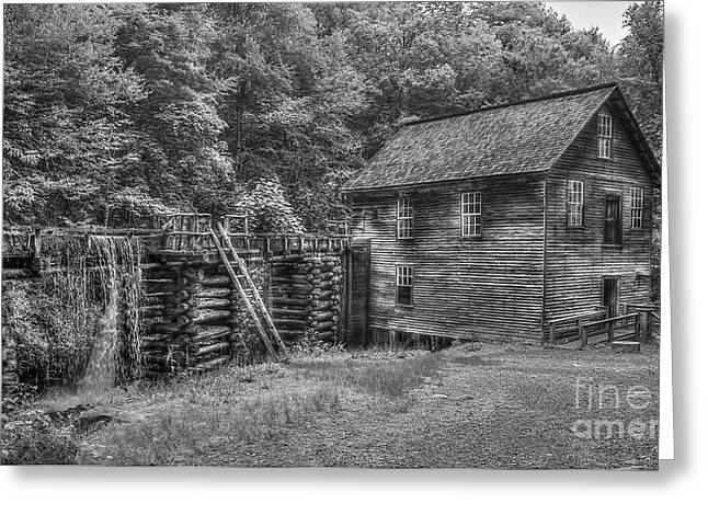 Greeting Card featuring the photograph Mingus Mill Black And White Mingus Creek Great Smoky Mountains Art by Reid Callaway