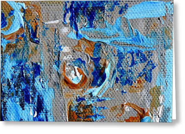 Mini Abstract In Blue Greeting Card by Beverley Harper Tinsley
