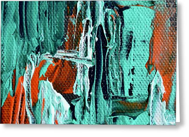 Mini Abstract In Green Greeting Card by Beverley Harper Tinsley