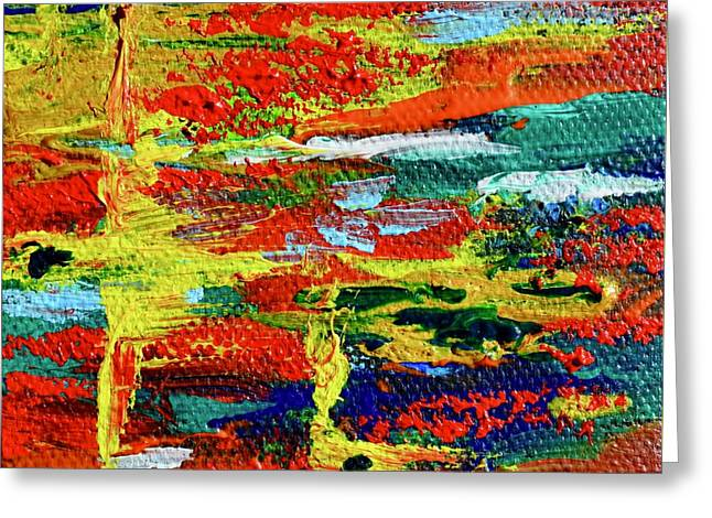 Mini Abstract In Red Greeting Card by Beverley Harper Tinsley