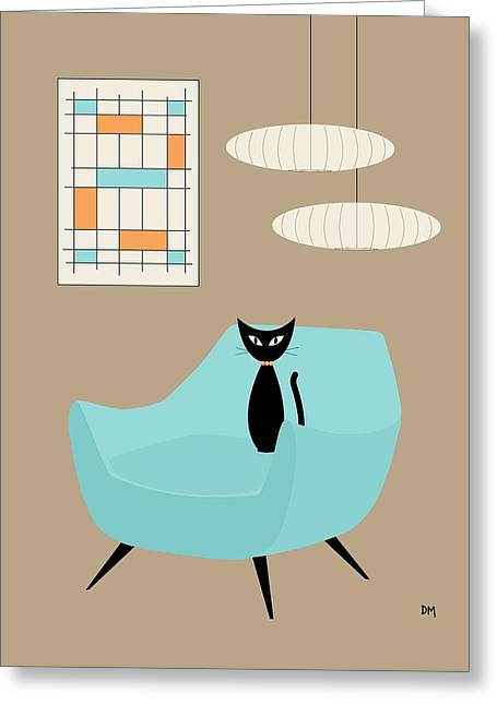 Mini Abstract With Blue Chair Greeting Card