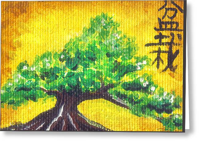 Greeting Card featuring the painting Mini Bonsai by Shawna Rowe