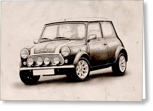 Mini Cooper Sketch Greeting Card by Michael Tompsett