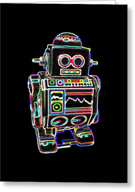 Mini D Robot Greeting Card by DB Artist