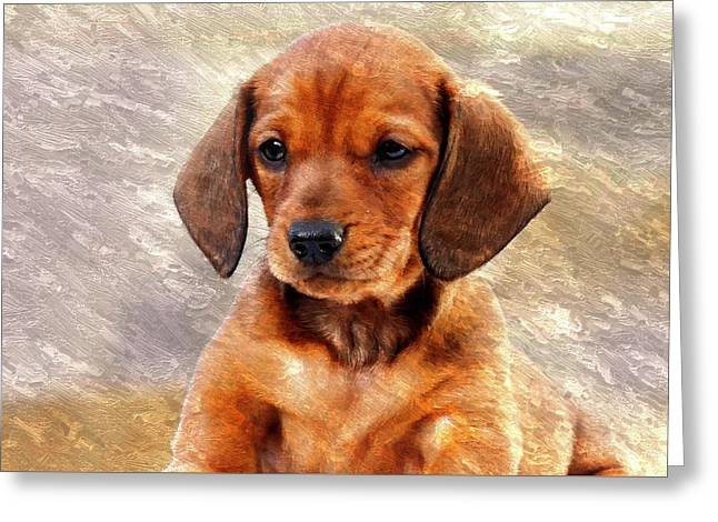 Mini Dachsund Dog Oil Painting Greeting Card
