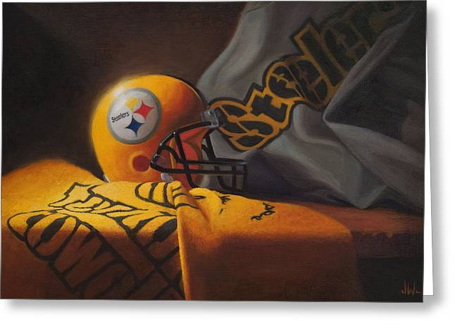 Greeting Card featuring the painting Mini Helmet Commemorative Edition by Joe Winkler