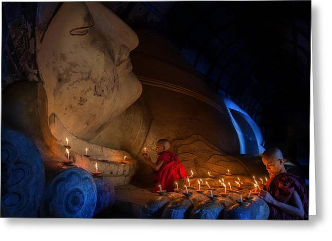 Mini Monk In Meditation Inside Temple  Greeting Card by Anek Suwannaphoom
