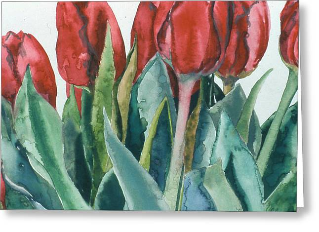 Mini-valentine Tulips - 2 Greeting Card by Caron Sloan Zuger