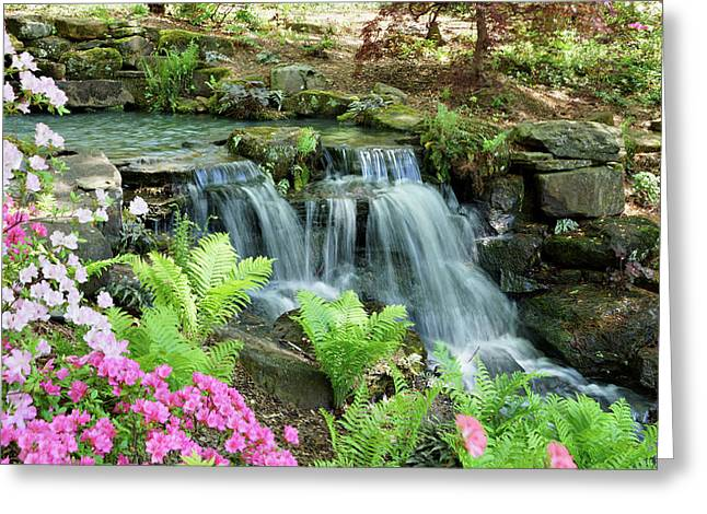 Mini Waterfall Greeting Card by Sandy Keeton