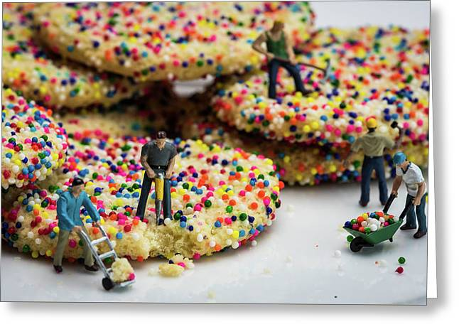 Miniature Construction Workers On Sprinkle Cookies Greeting Card