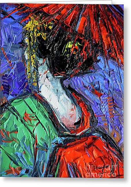 Miniature Geisha Impasto Palette Knife Oil Painting On Canvas Greeting Card