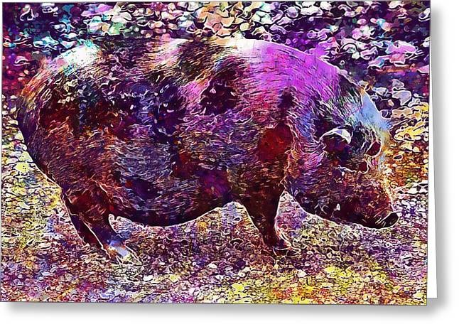 Greeting Card featuring the digital art Miniature Pig Pregnant Animal Pig  by PixBreak Art