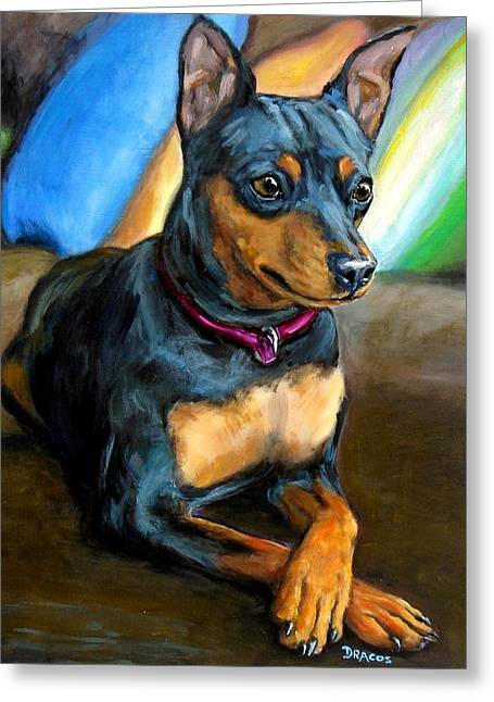 Miniature Greeting Cards - Miniature Pinscher Formal Greeting Card by Dottie Dracos