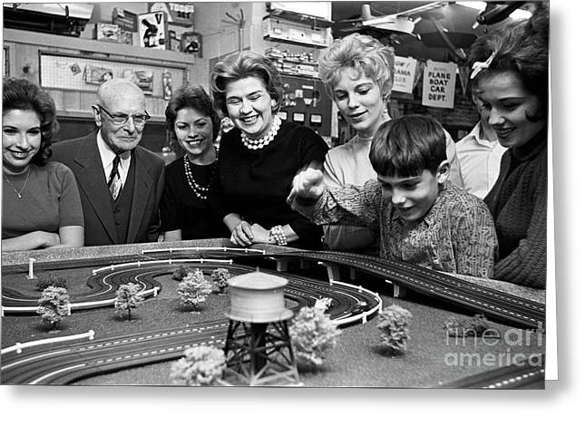 Miniature Racing Cars At A Hobby Shop Run By Rich Palmer In 1962 Greeting Card