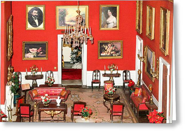 Miniature Red Room Of The White House  Greeting Card by Art Spectrum