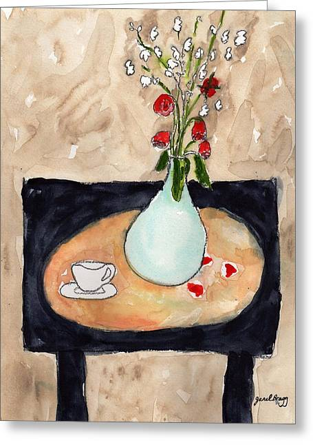 Miniature Rose Still Life Greeting Card by Janel Bragg