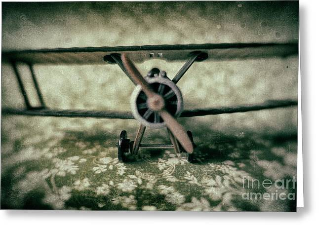 Miniature Wwi Fighter Airplane Greeting Card