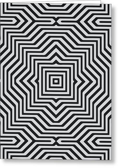 Minimal Geometrical Optical Illusion Style Pattern In Black White T-shirt  Greeting Card by Philipp Rietz