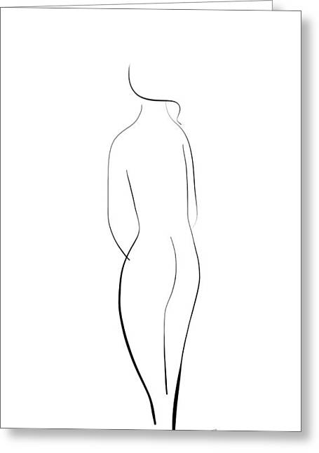 Minimal Line Drawing Of A Nude Woman Greeting Card