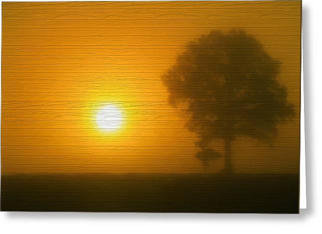 Minimalism Sunset On Wood Greeting Card